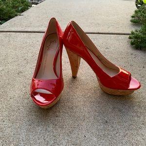 Designer platform heels, red and cork